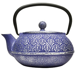 A blue cast iron kettle