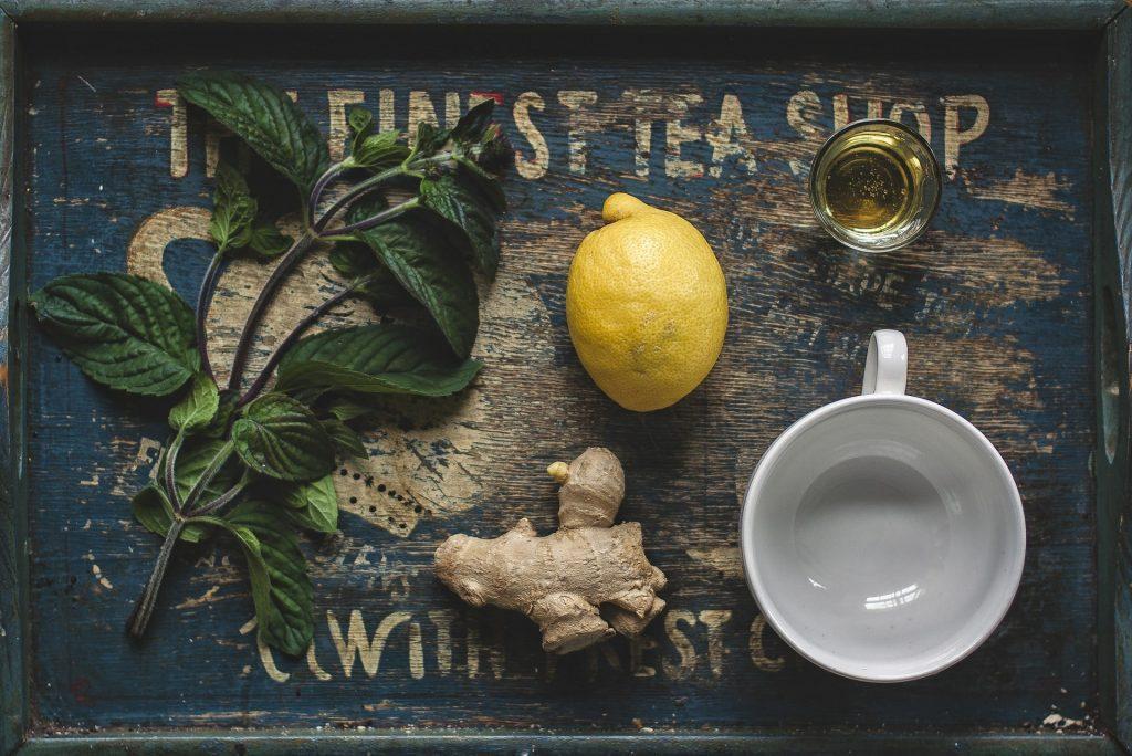 Prepping ingredients for honey lemon ginger tea