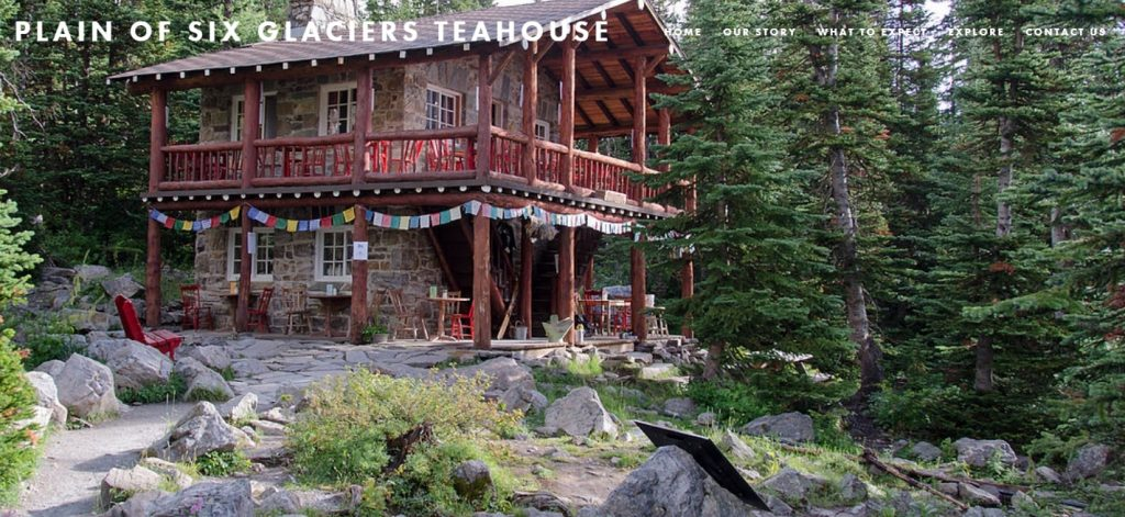 Outdoor view of Plain of Six Glaciers tea house
