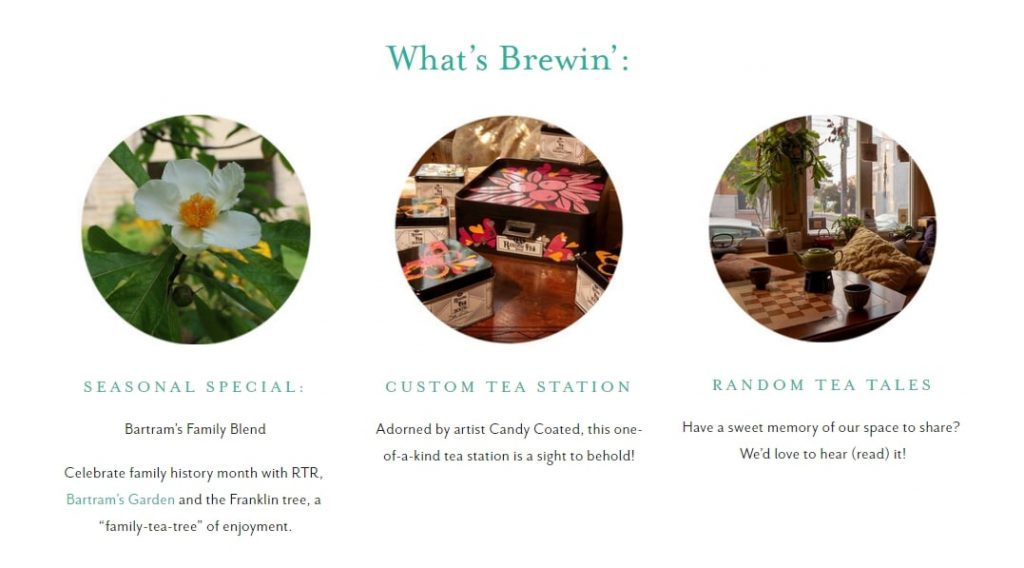 Store features from The Random Tea House website