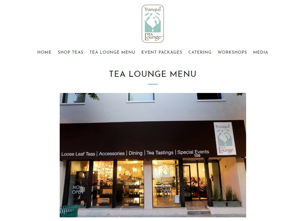 Storefront of Tranquil Tea Lounge tea house