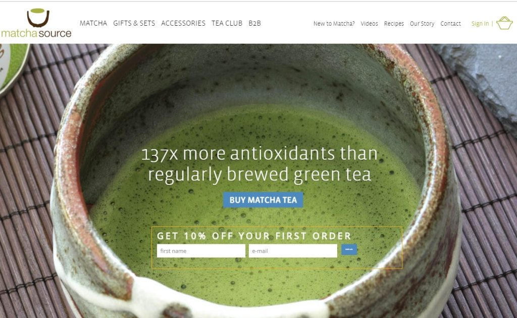 MatchaSource tea shop website