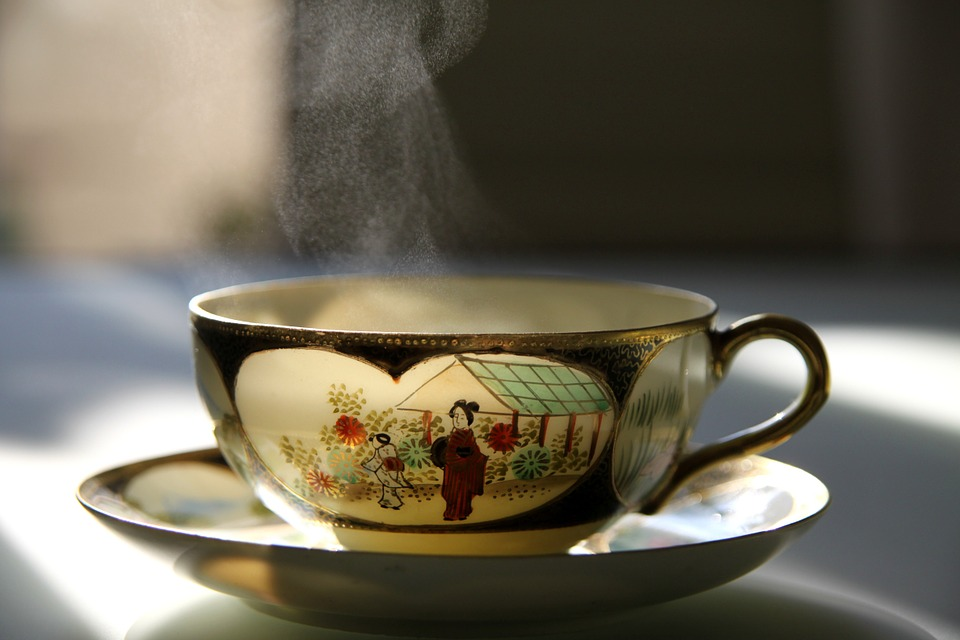 A japanese tea cup with steaming hot tea