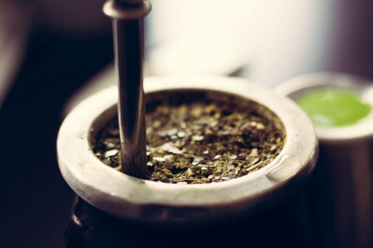 Selective focus of cup filled with yerba mate