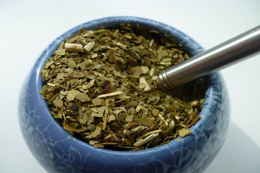 Close up of a cup filled with yerba mate